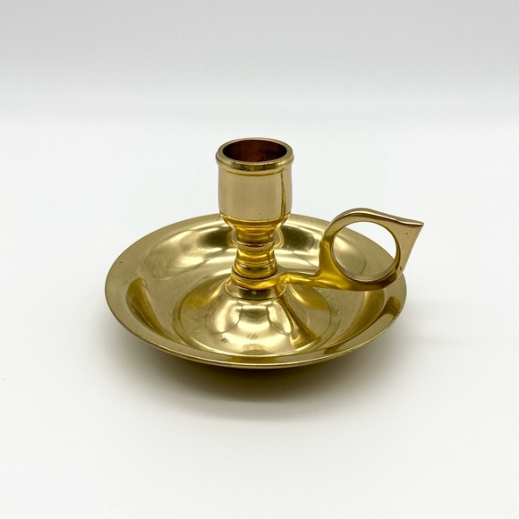 Vintage brass candlestick holder dish with ring